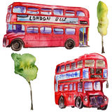 Watercolor London illustration. Great Britain hand drawn symbols. British bus Royalty Free Stock Images