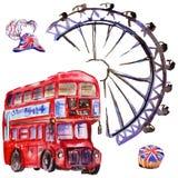 Watercolor London illustration. Great Britain hand drawn symbols. British bus royalty free illustration