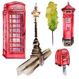 Watercolor London illustration. Great Britain hand drawn symbols. British phone. stock illustration