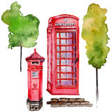 Watercolor London illustration. Great Britain hand drawn symbols. British phone. Stock Images