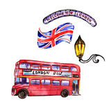 Watercolor London illustration. Great Britain hand drawn symbols. vector illustration