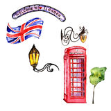 Watercolor London illustration. Great Britain hand drawn symbols. Royalty Free Stock Images
