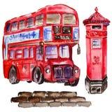 Watercolor London illustration. Great Britain hand drawn symbols. Watercolor London illustration. Great Britain hand drawn symbols: red phone booth, Big Ben stock illustration