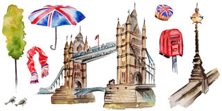 Watercolor London illustration. Great Britain hand drawn symbols. Stock Image