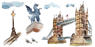 Watercolor London illustration. Great Britain hand drawn symbols. Stock Photo