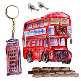 Watercolor London illustration. Great Britain hand drawn symbols. Royalty Free Stock Photo