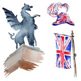 Watercolor London illustration. Great Britain hand drawn symbols. Stock Photography