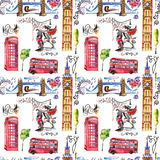 Watercolor London pattern  illustration. Great Britain hand drawn symbols. Royalty Free Stock Photo