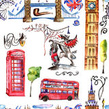 Watercolor London pattern  illustration. Great Britain hand drawn symbols. Watercolor London pattern illustration. Great Britain hand drawn symbols: red phone Stock Image
