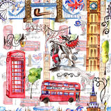 Watercolor London pattern illustration. Great Britain hand drawn symbols. Watercolor London pattern illustration. Great Britain hand drawn symbols: red phone royalty free illustration