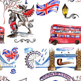 Watercolor London pattern  illustration. Great Britain hand drawn symbols. Stock Photo