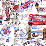 Watercolor London pattern  illustration. Great Britain hand drawn symbols. Royalty Free Stock Photography