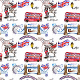 Watercolor London pattern  illustration. Great Britain hand drawn symbols. Stock Photography