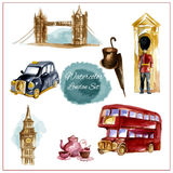 Watercolor London Set Stock Images