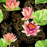 Watercolor lotus flower on golden ornament. Seamless pattern Stock Image