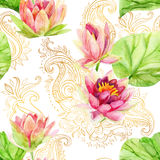 Watercolor lotus flower on golden ornament. Seamless pattern Royalty Free Stock Image