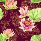 Watercolor lotus flower on golden ornament. Seamless pattern Stock Photography
