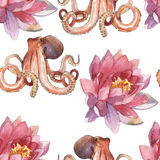 Watercolor lotus flower and octopus stock image