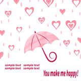 Watercolor love background with umbrella and hearts. Love rain. Valentine's day vector illustration Stock Image