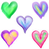 Watercolor Love Heart Shapes Stock Images