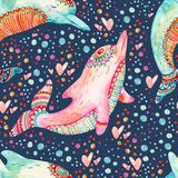 Watercolor lovely dolphins seamless pattern on background with bubbles. Childish mammals in cartoon style. Hand painted cute animal illustration Royalty Free Stock Photography
