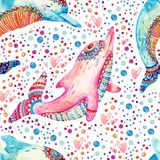 Watercolor lovely dolphins seamless pattern on background with bubbles. Childish mammals in cartoon style. Hand painted cute animal illustration Stock Images