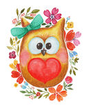 Watercolor lovely owl with heart and flowers Stock Photography