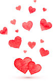 Watercolor lovely vector hearts Royalty Free Stock Images