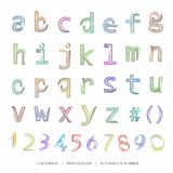Watercolor lowercase alphabet and notation. Stock Photography