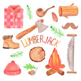 Watercolor lumberjack set. Hand painted on white background Stock Image