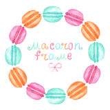 Watercolor macaron frame. Watercolor hand painted macaron frame on white background Royalty Free Stock Images