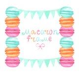 Watercolor macaron frame Royalty Free Stock Photo