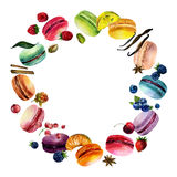 Watercolor Macaron Round Frame Stock Photography