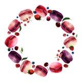Watercolor Macaron Round Frame Stock Image
