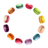 Watercolor Macaron Round Frame Stock Images