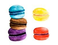 watercolor 5 macarons Στοκ Εικόνες