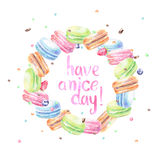 Watercolor macarons with typography Royalty Free Stock Images