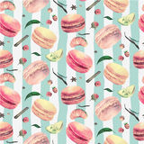 Watercolor macaroon seamless  pattern Stock Images