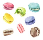 Watercolor macaroons mix. Hand painted illustration isolated on white background Royalty Free Stock Images