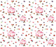 Watercolor maffin pink seamless. Illustration of a watercolor sketch of muffins with berries, seamless pattern style country Royalty Free Stock Photo