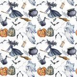 Watercolor magic Halloween pattern. Hand painted Halloween symbols on white background. Pumpkins, witch hat, candy. Watercolor magic Halloween pattern. Hand Royalty Free Stock Images