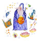 Watercolor magic illustration with hand drawn artistic elements isolated on white background - wizard, hat, wand, spell book. Royalty Free Stock Photography