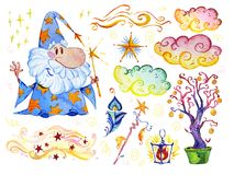 Watercolor magic illustration with hand drawn artistic elements isolated on white background - wizard, hat, wand, spell book. Royalty Free Stock Image