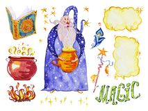 Watercolor magic illustration with hand drawn artistic elements isolated on white background - wizard, hat, wand, spell book. Royalty Free Stock Photos