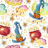 Watercolor magic seamless pattern illustration with hand drawn artistic elements isolated on white background - hat, cauldron, smo Stock Images