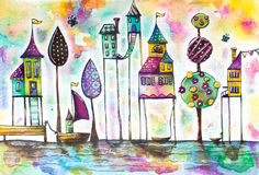 Watercolor magical houses city, street. Royalty Free Stock Photos