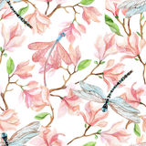 Watercolor magnolia branches and dragonfly Stock Photos