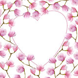 Watercolor magnolia frame in heart shape for Valentines day.greeting card design. Stock Photo