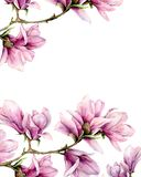 Watercolor magnolia and leaves vertical card. Hand painted border with flowers on branch isolated on white background royalty free stock image