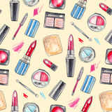Watercolor Make up background. Watercolor Make up products set. Cosmetics. Seamless background Hand drawn Illustration Vector Illustration